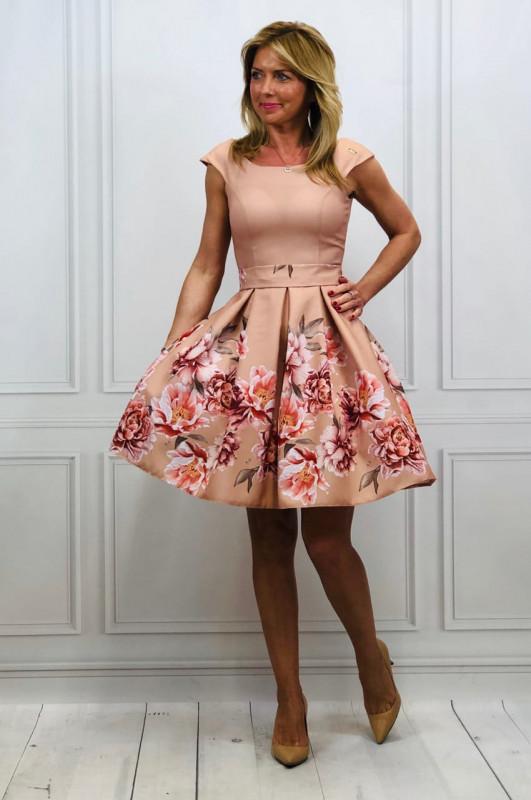 d375a1222296 Dámske áčkové šaty - camel - potlač kvety. Novinka