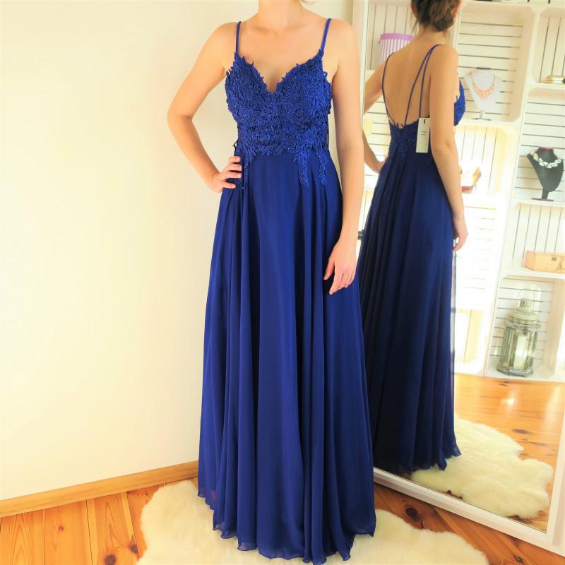 32dedf7bafa5 Modré dlhé spoločenské šaty Diva. Modré dlhé spoločenské šaty Diva. Exkluzívne  spoločenské šaty modrej farby na ramienka.