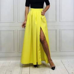b81ccd203916 Maxi skladaná sukňa s rozparkom - neónovo žltá