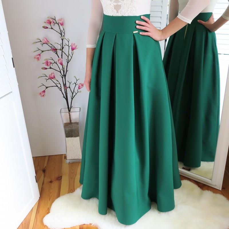 a20ae1f01ccb Skladaná Maxi sukňa - zelená
